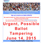 Urgent Possible Ballot Tampering